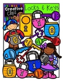 Lock and Key Kids {Creative Clips Digital Clipart}