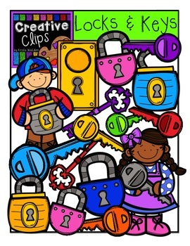 Lock and Key Kids {Creative Clips Digital Clipart}