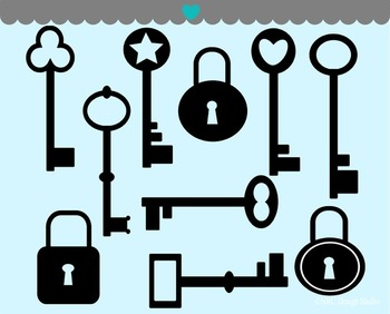 Lock and Key Silhouette Clip Art