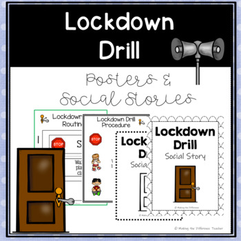 Lockdown Drill Procedures & Routines- Visuals, Posters, & Social Stories