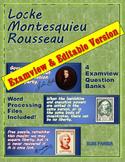 Locke, Montesquieu, Rousseau Questions (Examview + Word)