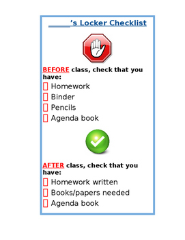 Locker Checklist Organizational Tool