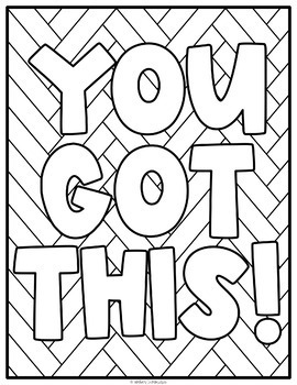 Motivational Positive Quote Coloring Pages Middle School Locker Activity