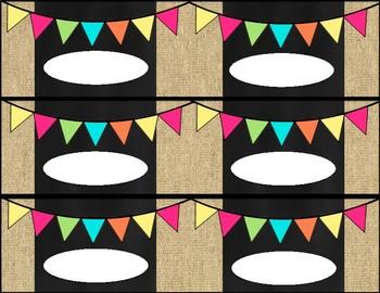 Editable Locker Name Plates *Burlap & Chalkboard Theme