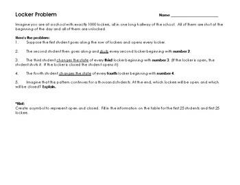 Locker Problem - Logic