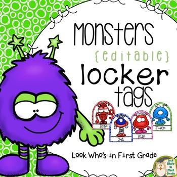 Monster Locker Tags  ~ Editable