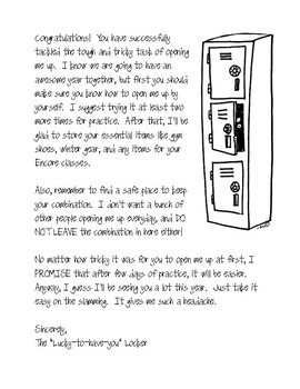 Locker Welcome Note