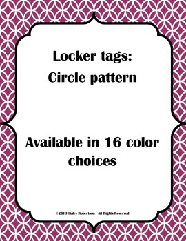 Locker tags- circle pattern