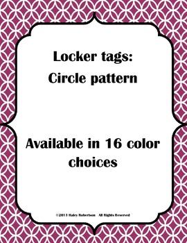 Locker tags- circle pattern