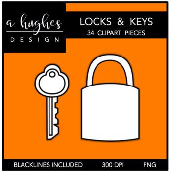 Locks & Keys Clipart {A Hughes Design}