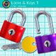 Lock and Key Clip Art {Rainbow Padlock and House Graphics for Resources} 1