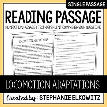 Locomotion Adaptations Reading Passage