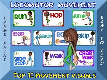 Locomotor Movement- Top 10 Movement Visuals- Simple Large Print Design