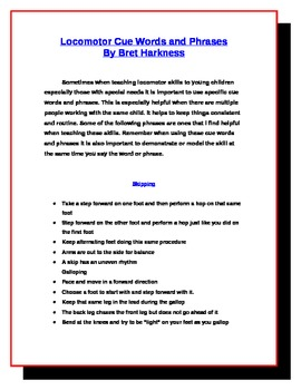 Locomotor Skill Cue Words and Phrases