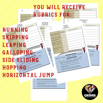 Locomotor Skills Rubric Bundle!