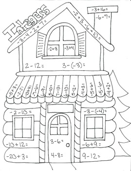 Log Cabin Math Coloring Page