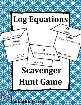 Log Equations Scavenger Hunt Game