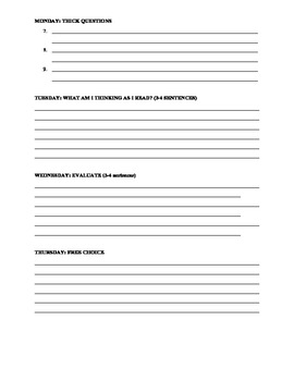 Log for Reading Reponse