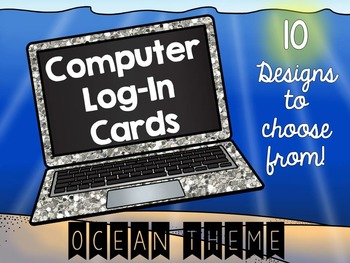 Log-in Cards for Computer Programs - Ocean Theme