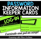 Log-in Username & Password Keeper Cards
