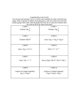 Logarithm Activity