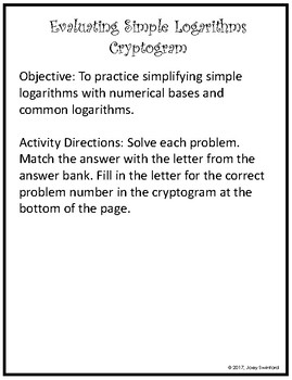 Cryptogram Activity: Evaluating Logarithms