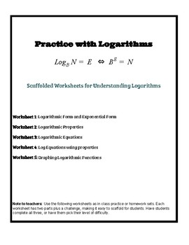 Logarithm Practice Worksheets by Leah Temes | Teachers Pay Teachers
