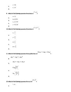 Logarithm Quiz