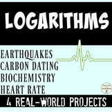 Logarithmic Equations Project  Real World 4 choices  EDITABLE