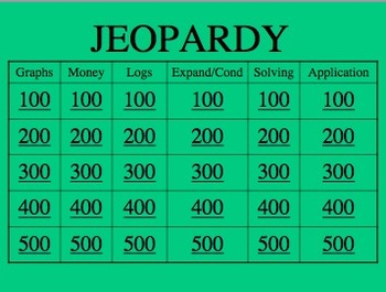 Logarithm Review Jeopardy!