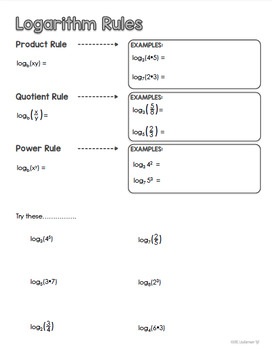 Logarithm Rules - PowerPoint & Student Sheet