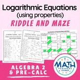 Logarithmic Equations: Line Puzzle Activity