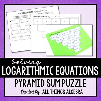 Logarithmic Equations Pyramid Sum Puzzle
