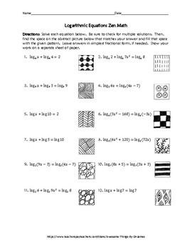 Logarithmic Equations Zen Math