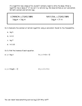 Logarithmic Functions Notes Sheet