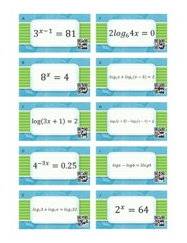 Logarithmic Functions Task Cards