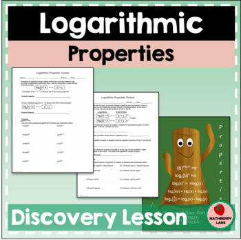 Logarithmic Properties and Change of Base Formula Lesson & Poster Logs Logarithm