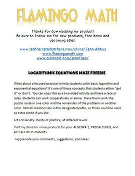 PreCalculus-Algebra 2: Logarithmic and Exponential Equations Maze (FREEBIE)