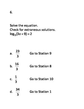 Logarithmic and Exponential Functions CIRCUIT (Review Activity)