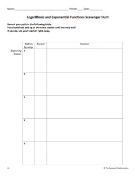 Logarithmic and Exponential Functions Scavenger Hunt (Review Activity)