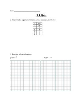 Logarithmic and Exponential Functions Lesson 1 Quiz
