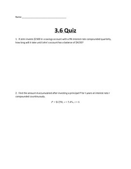 Logarithmic and Exponential Functions Lesson 5 Quiz