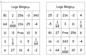 Logarithms (Logs) Bingo Game (Simple logarithmic equations)