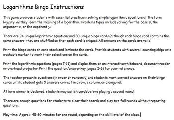Logarithms (Logs) Bingo Game (Simple logarithmic equations)