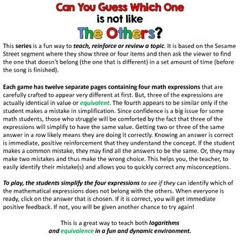 Logarithms - Can you guess which one? Game I