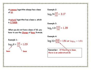 Logarithms Change of Base Formula INB