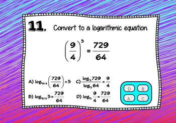 Logarithms Changing to and from Exponential form with BOOM Cards Digital 1:1