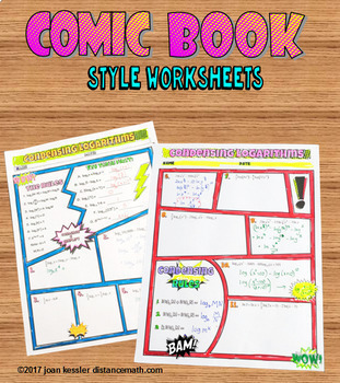 Condensing Logarithms Comic Book Style FUN Notes