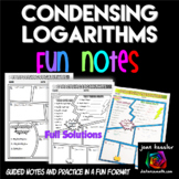 Logarithms - Condensing Logs Comic Book Style Doodle Notes
