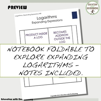 Expand and Condense Logarithm Expressions Color-Coded Interactive Notebook